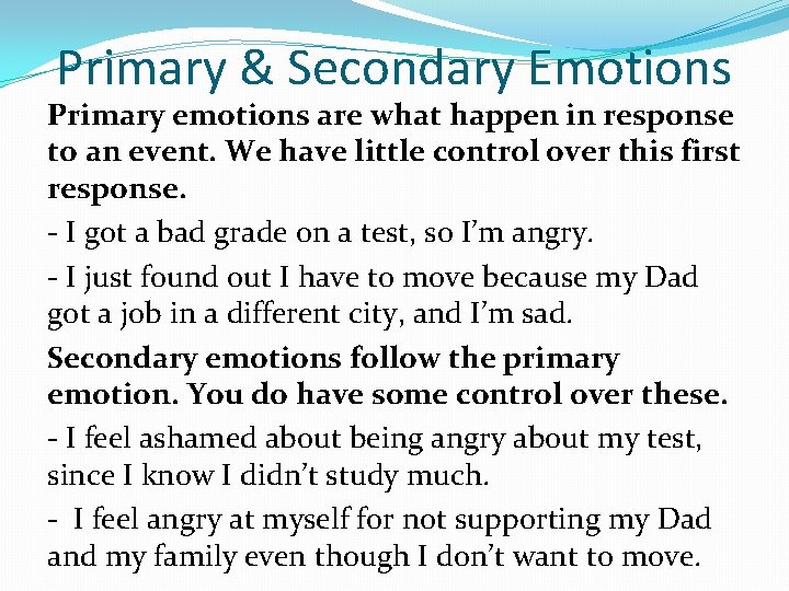 Emotions secondary emotions primary and Primary Emotion