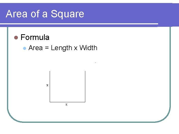 Area of a Square l Formula l Area = Length x Width
