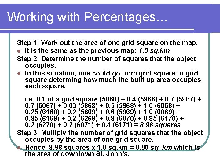 Working with Percentages… Step 1: Work out the area of one grid square on
