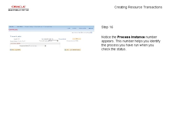 Creating Resource Transactions Step 16 Notice the Process Instance number appears. This number helps
