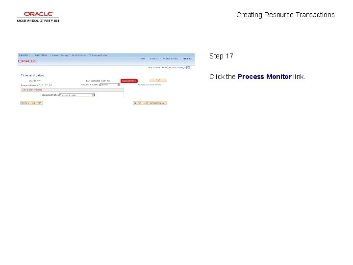 Creating Resource Transactions Step 17 Click the Process Monitor link.