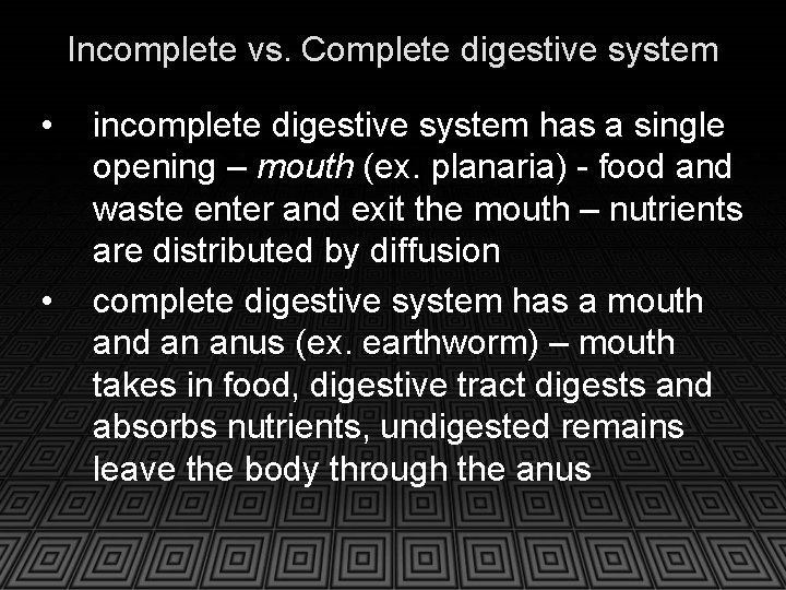 Incomplete vs. Complete digestive system • • incomplete digestive system has a single opening