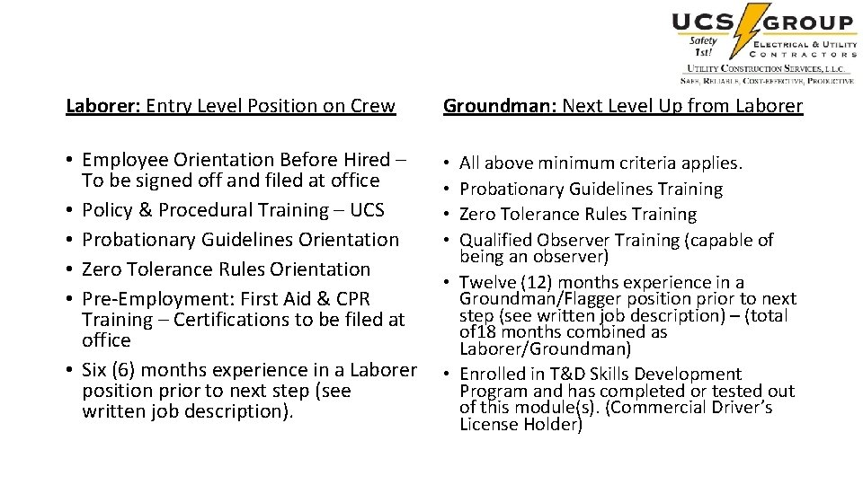 Laborer: Entry Level Position on Crew Groundman: Next Level Up from Laborer • Employee