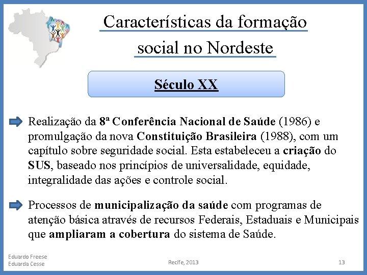 Características da formação social no Nordeste Século XX Realização da 8ª Conferência Nacional de