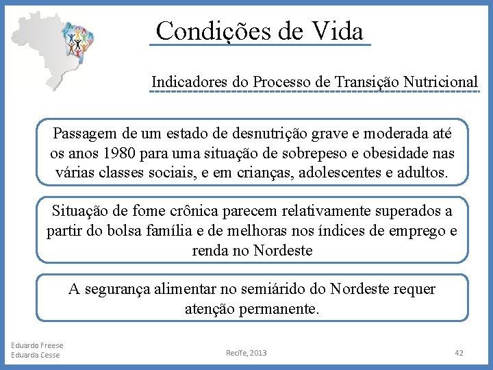 Condições de Vida Indicadores do Processo de Transição Nutricional Passagem de um estado de