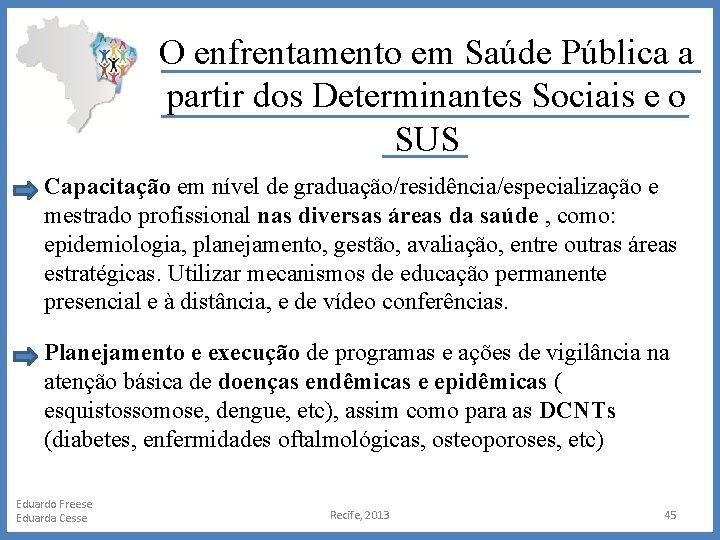 O enfrentamento em Saúde Pública a partir dos Determinantes Sociais e o SUS Capacitação
