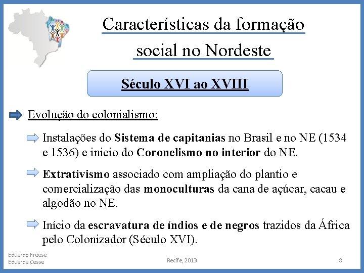 Características da formação social no Nordeste Século XVI ao XVIII Evolução do colonialismo: Instalações