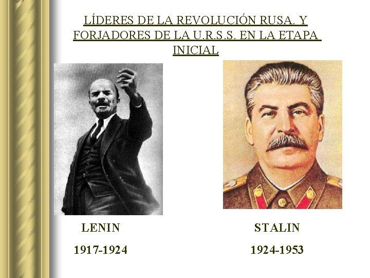 LÍDERES DE LA REVOLUCIÓN RUSA. Y FORJADORES DE LA U. R. S. S. EN