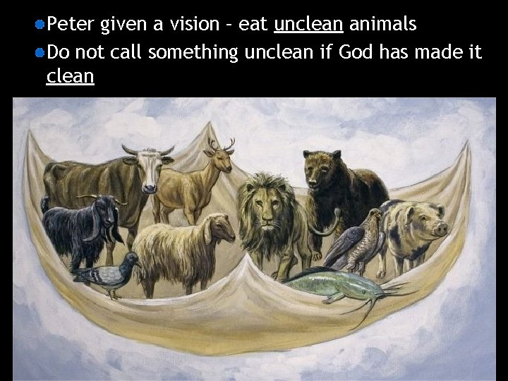 Peter given a vision – eat unclean animals Do not call something unclean if