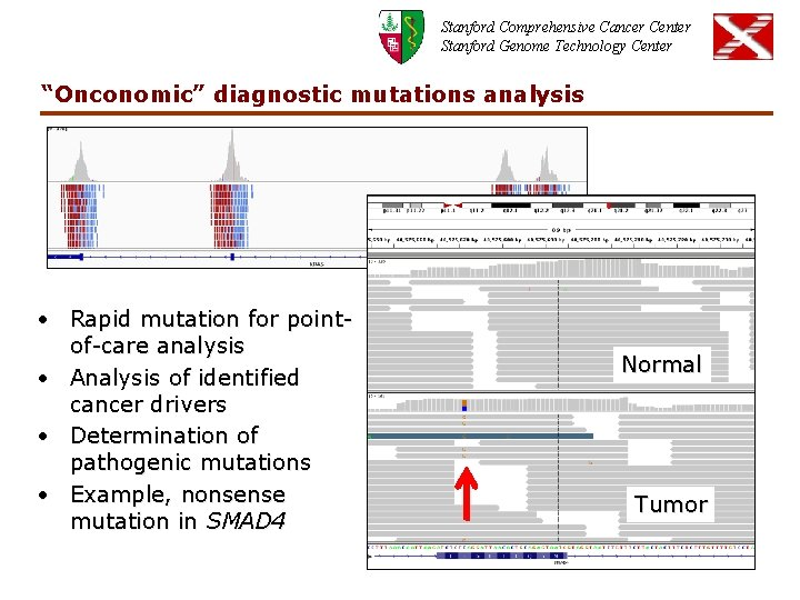 """Stanford Comprehensive Cancer Center Stanford Genome Technology Center """"Onconomic"""" diagnostic mutations analysis • Rapid"""