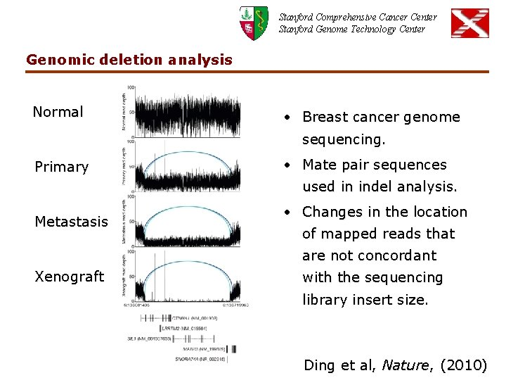 Stanford Comprehensive Cancer Center Stanford Genome Technology Center Genomic deletion analysis Normal • Breast