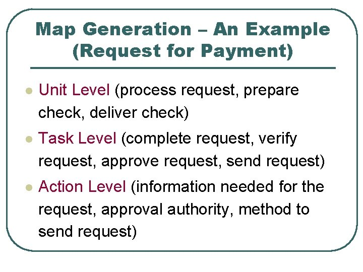 Map Generation – An Example (Request for Payment) l Unit Level (process request, prepare