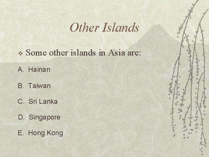 Other Islands v Some other islands in Asia are: A. Hainan B. Taiwan C.