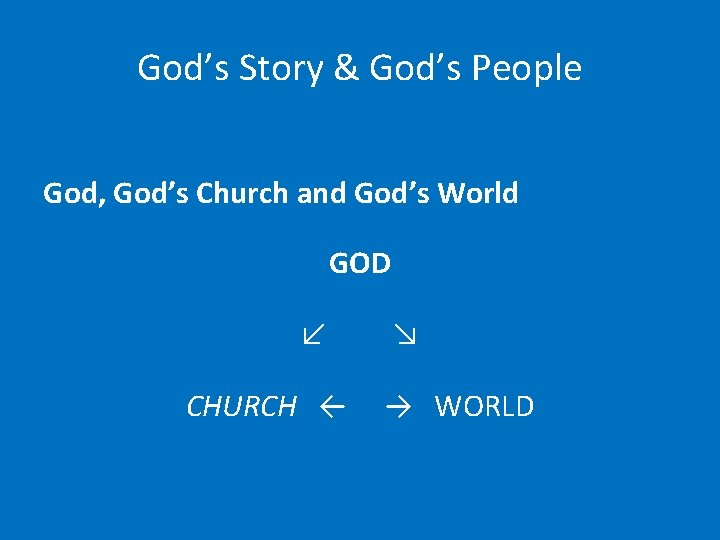 God's Story & God's People God, God's Church and God's World GOD ↙ CHURCH