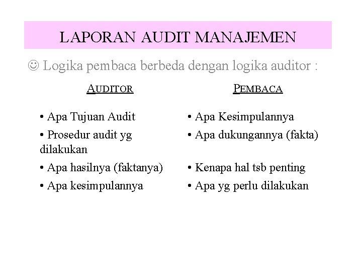 LAPORAN AUDIT MANAJEMEN J Logika pembaca berbeda dengan logika auditor : AUDITOR • Apa