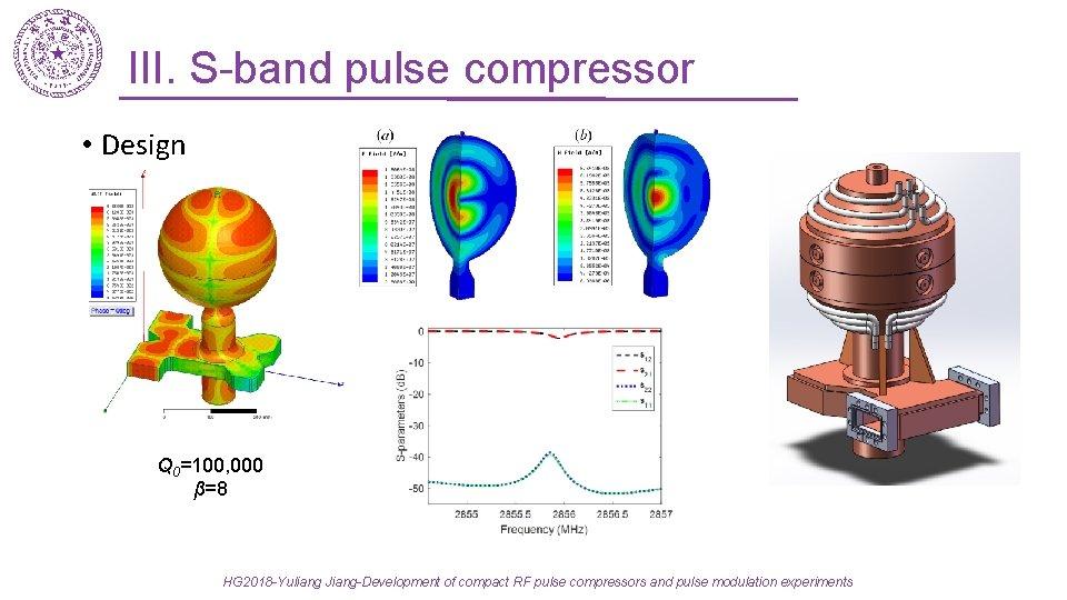 III. S-band pulse compressor • Design Q 0=100, 000 β=8 HG 2018 -Yuliang Jiang-Development