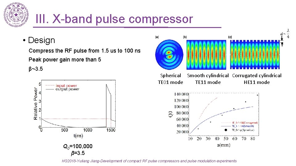 III. X-band pulse compressor • Design Compress the RF pulse from 1. 5 us