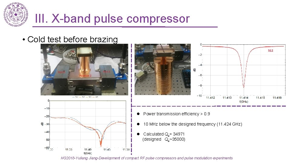 III. X-band pulse compressor • Cold test before brazing l Power transmission efficiency >