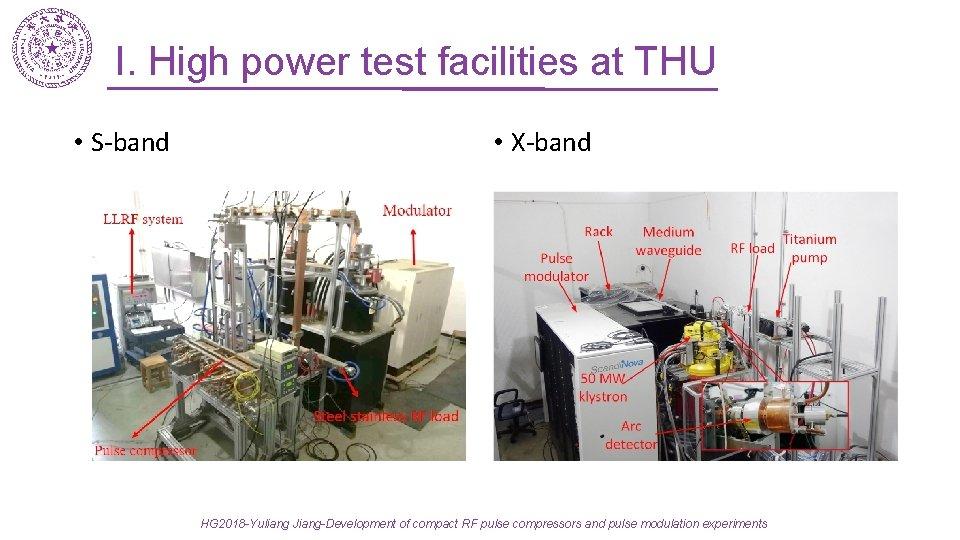 I. High power test facilities at THU • S-band • X-band HG 2018 -Yuliang