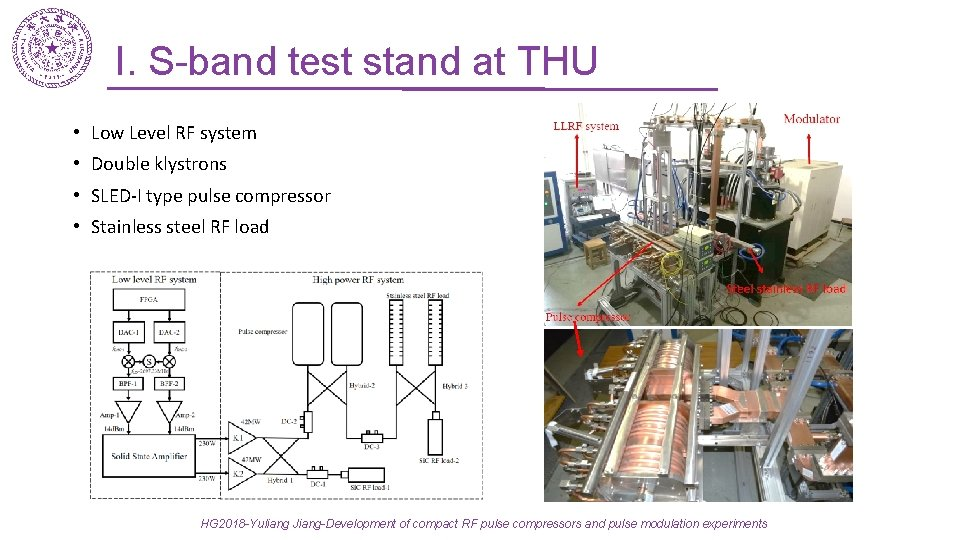 I. S-band test stand at THU • Low Level RF system • Double klystrons