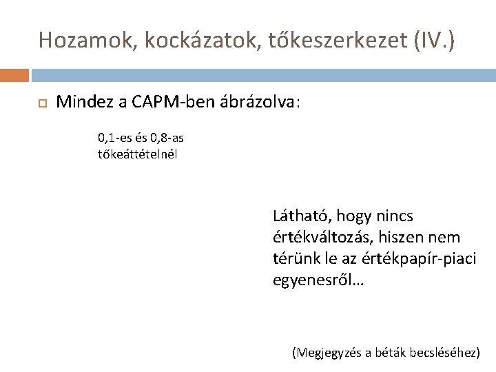 Hozamok, kockázatok, tőkeszerkezet (IV. ) Mindez a CAPM-ben ábrázolva: 0, 1 -es és 0,