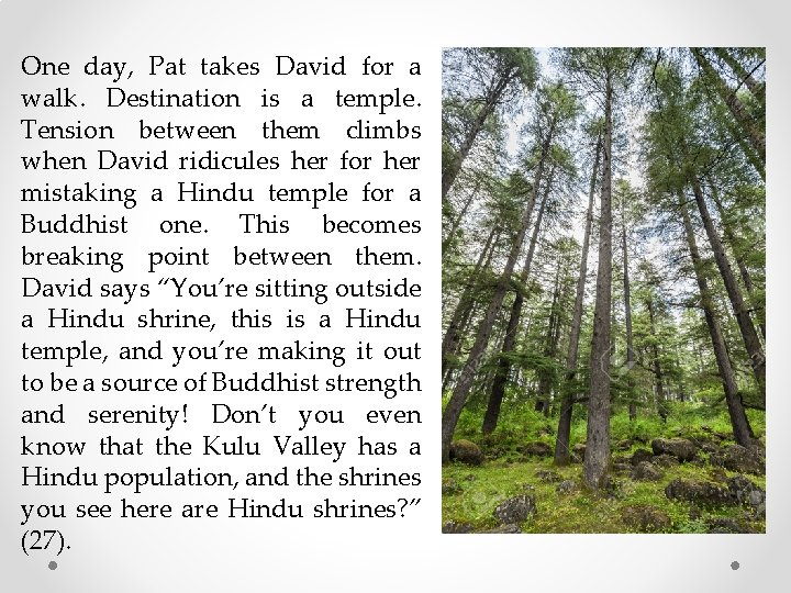 One day, Pat takes David for a walk. Destination is a temple. Tension between
