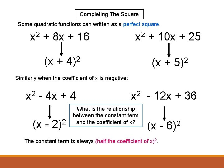 Completing The Square Some quadratic functions can written as a perfect square. x 2