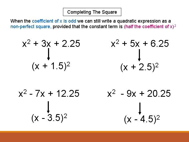 Completing The Square When the coefficient of x is odd we can still write