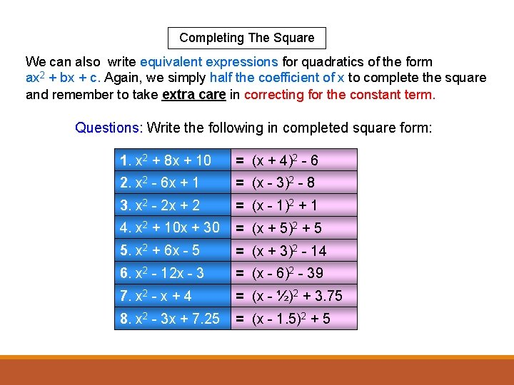 Completing The Square We can also write equivalent expressions for quadratics of the form