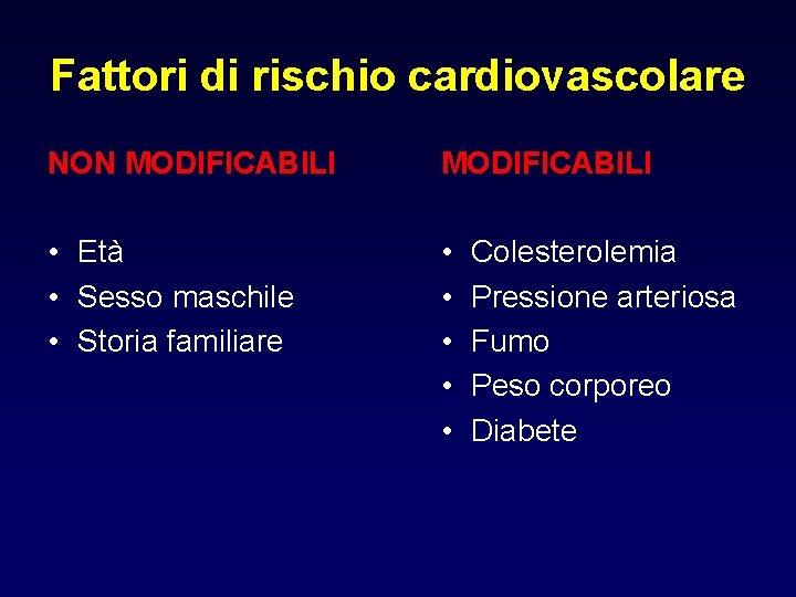 Fattori di rischio cardiovascolare NON MODIFICABILI • Età • Sesso maschile • Storia familiare