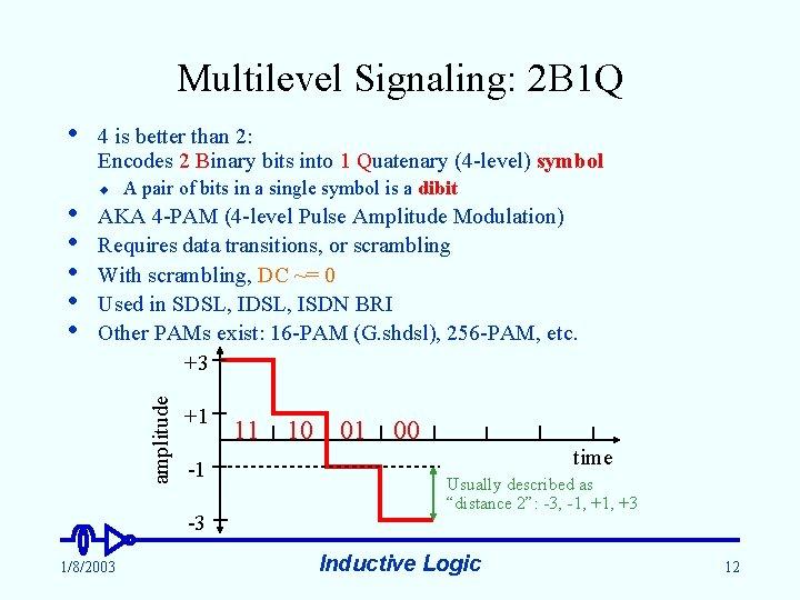 Multilevel Signaling: 2 B 1 Q • u A pair of bits in a