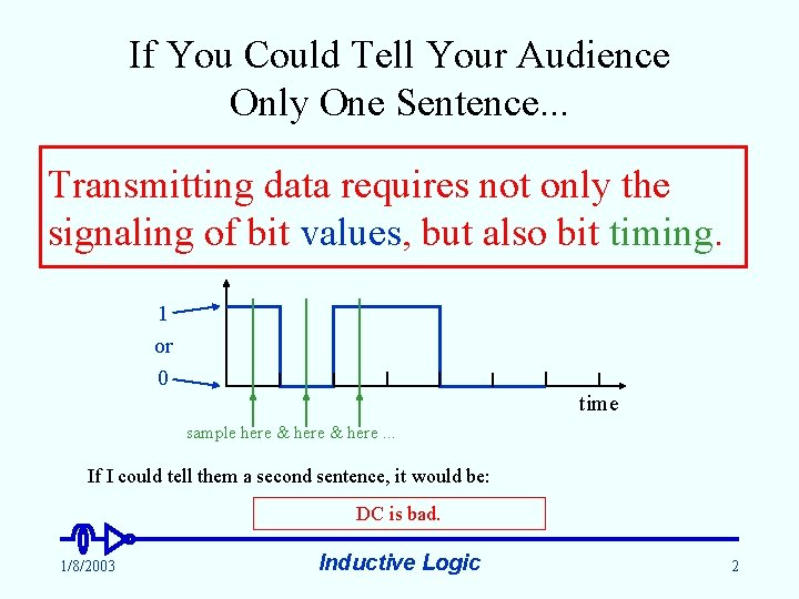 If You Could Tell Your Audience Only One Sentence. . . Transmitting data requires
