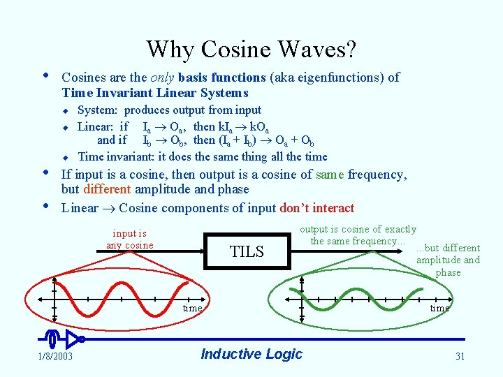 Why Cosine Waves? • Cosines are the only basis functions (aka eigenfunctions) of Time