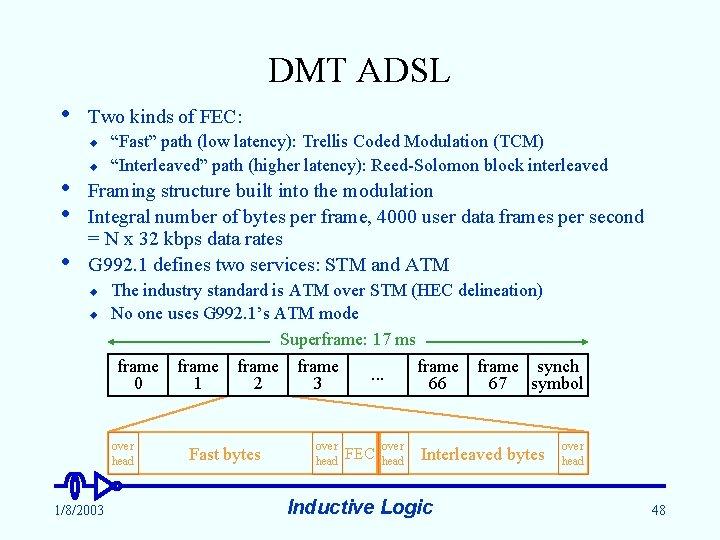 """DMT ADSL • Two kinds of FEC: u • • • u """"Fast"""" path"""