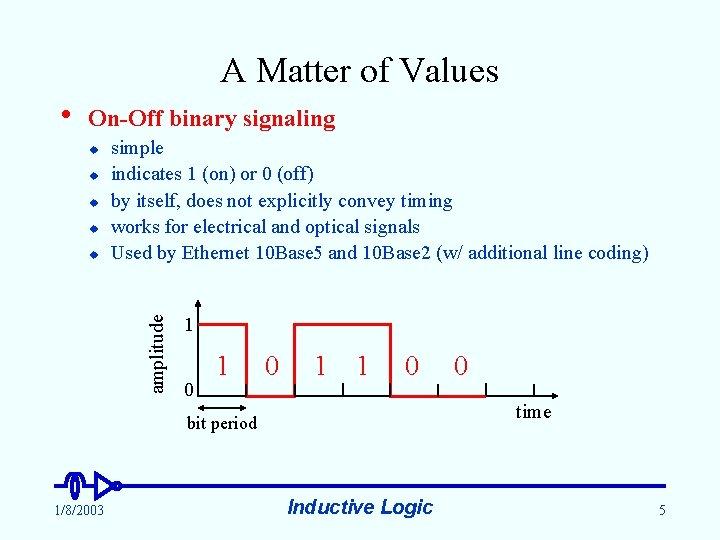 A Matter of Values • On-Off binary signaling u u amplitude u simple indicates