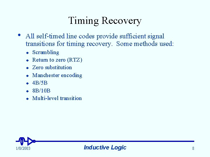 Timing Recovery • All self-timed line codes provide sufficient signal transitions for timing recovery.