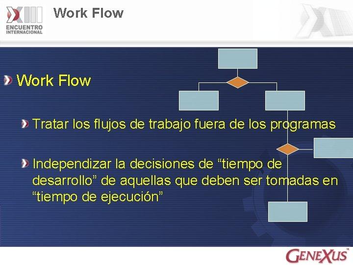 Work Flow Tratar los flujos de trabajo fuera de los programas Independizar la decisiones