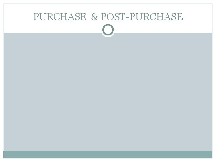 PURCHASE & POST-PURCHASE