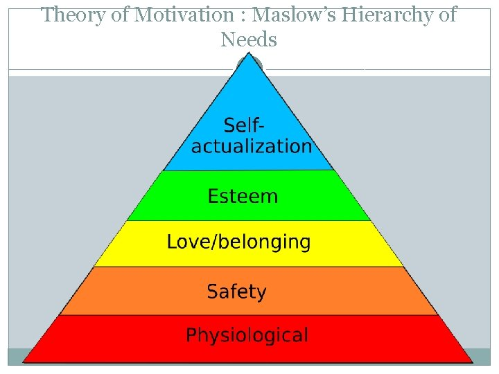 Theory of Motivation : Maslow's Hierarchy of Needs