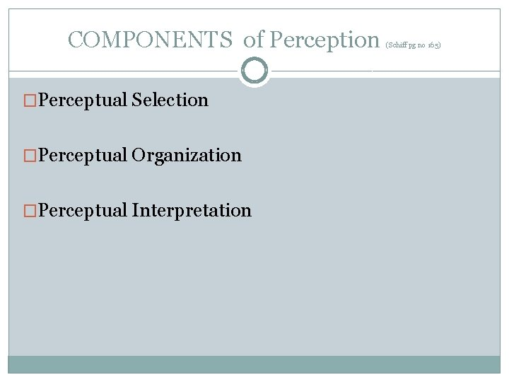 COMPONENTS of Perception �Perceptual Selection �Perceptual Organization �Perceptual Interpretation (Schiff pg no 165)