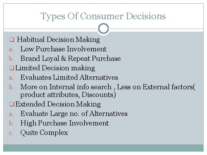 Types Of Consumer Decisions q Habitual Decision Making Low Purchase Involvement b. Brand Loyal