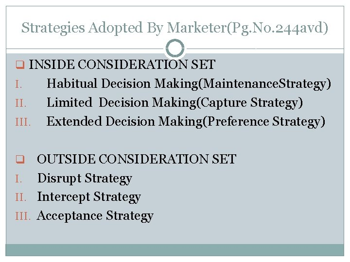 Strategies Adopted By Marketer(Pg. No. 244 avd) q INSIDE CONSIDERATION SET I. III. Habitual