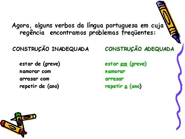 Agora, alguns verbos da língua portuguesa em cuja regência encontramos problemas freqüentes: CONSTRUÇÃO INADEQUADA