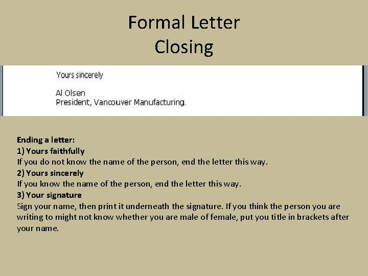 Formal Letter When We Write A