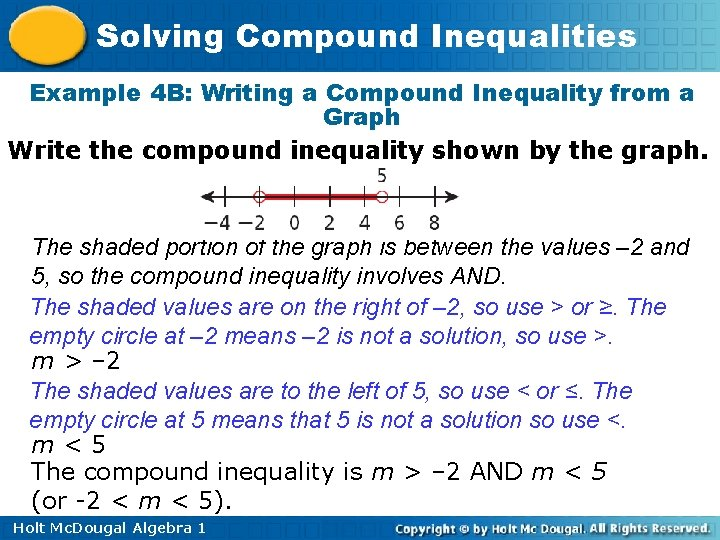 Solving Compound Inequalities Example 4 B: Writing a Compound Inequality from a Graph Write