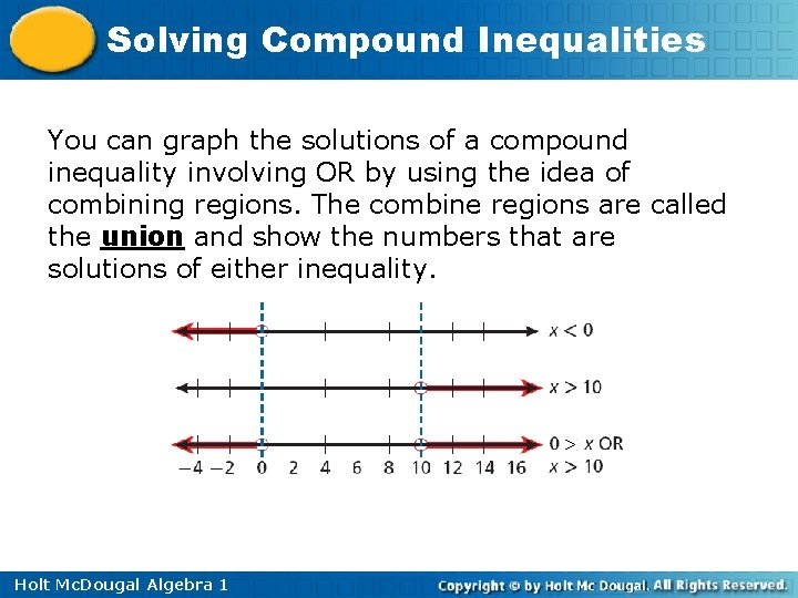 Solving Compound Inequalities You can graph the solutions of a compound inequality involving OR