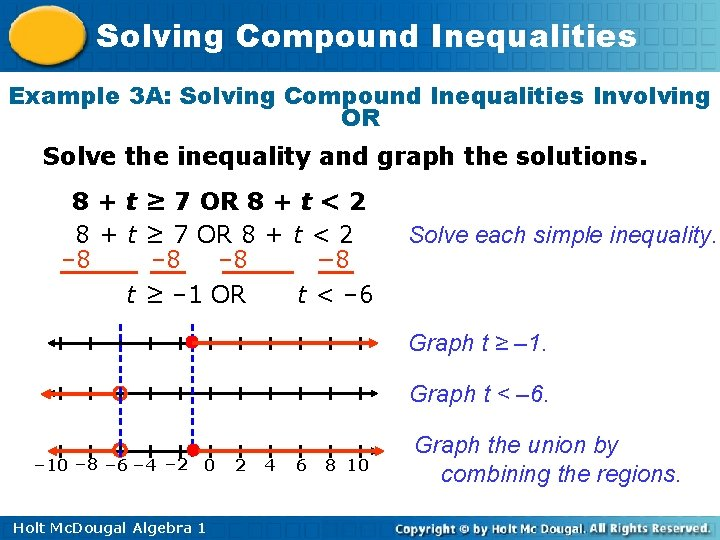 Solving Compound Inequalities Example 3 A: Solving Compound Inequalities Involving OR Solve the inequality