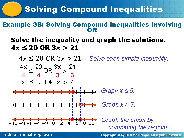 Solving Compound Inequalities Example 3 B: Solving Compound Inequalities Involving OR Solve the inequality