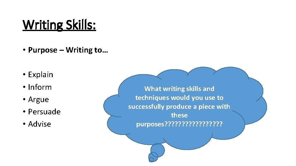 Writing Skills: • Purpose – Writing to… • Explain • Inform • Argue •