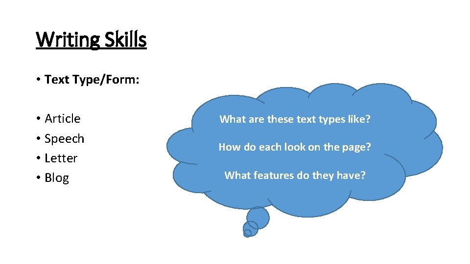 Writing Skills • Text Type/Form: • Article • Speech • Letter • Blog What